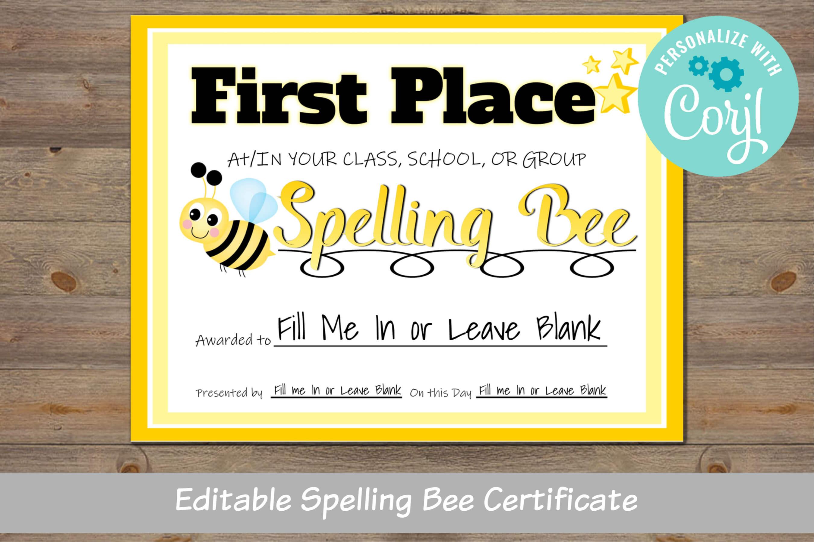 Spelling Bee Award Certificate, For School, For Classroom, For District Regarding Spelling Bee Award Certificate Template