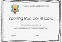 Spelling Bee Certificates | Spelling Bee, Bee Certificate in Spelling Bee Award Certificate Template
