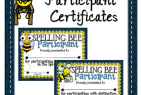 Spelling Bee Participant Certificates | Spelling Bee In Spelling Bee Award Certificate Template