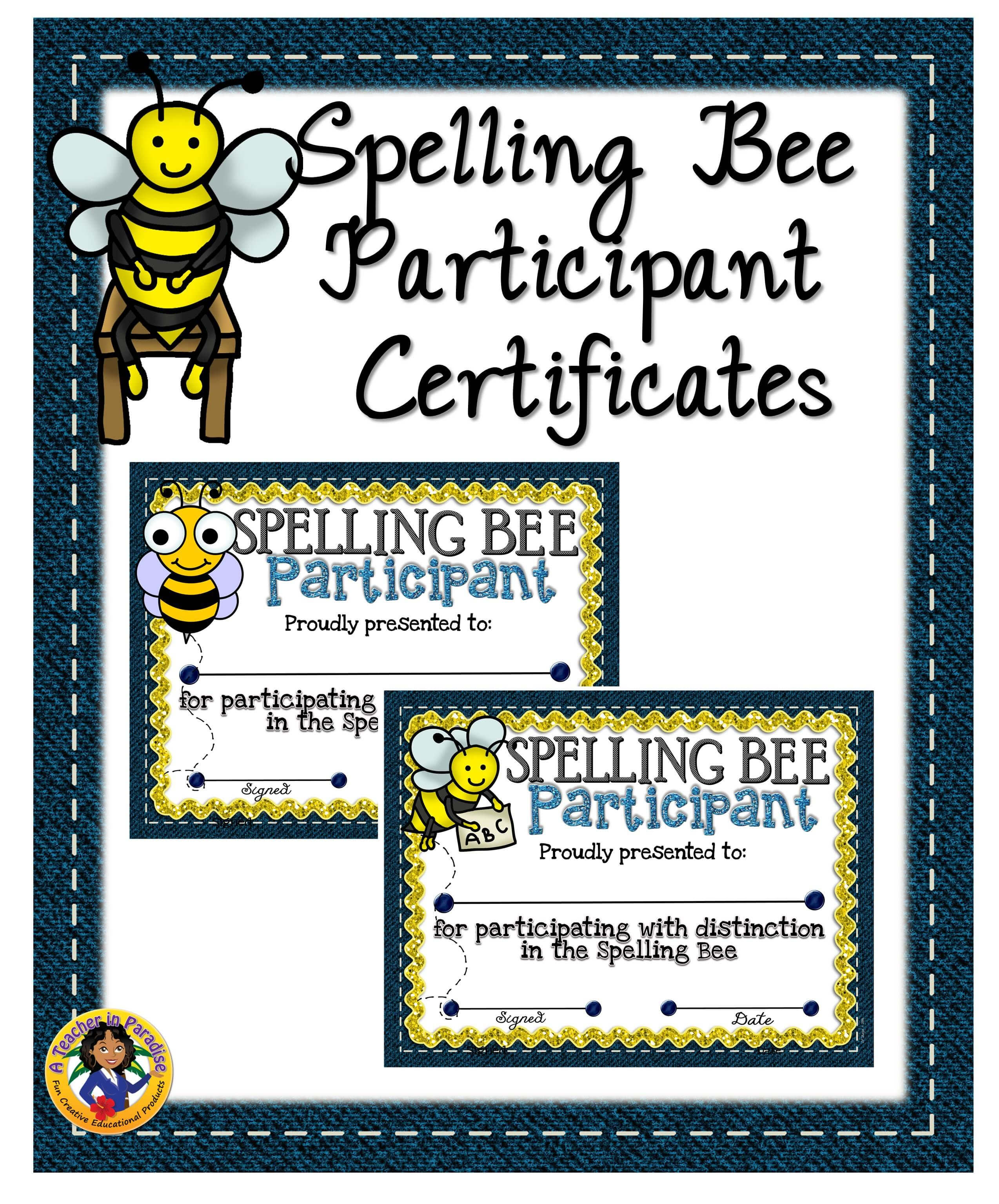 Spelling Bee Participant Certificates   Spelling Bee In Spelling Bee Award Certificate Template