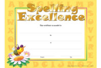Spelling Excellence Gold Foil Stamped Certificates Pertaining To Spelling Bee Award Certificate Template