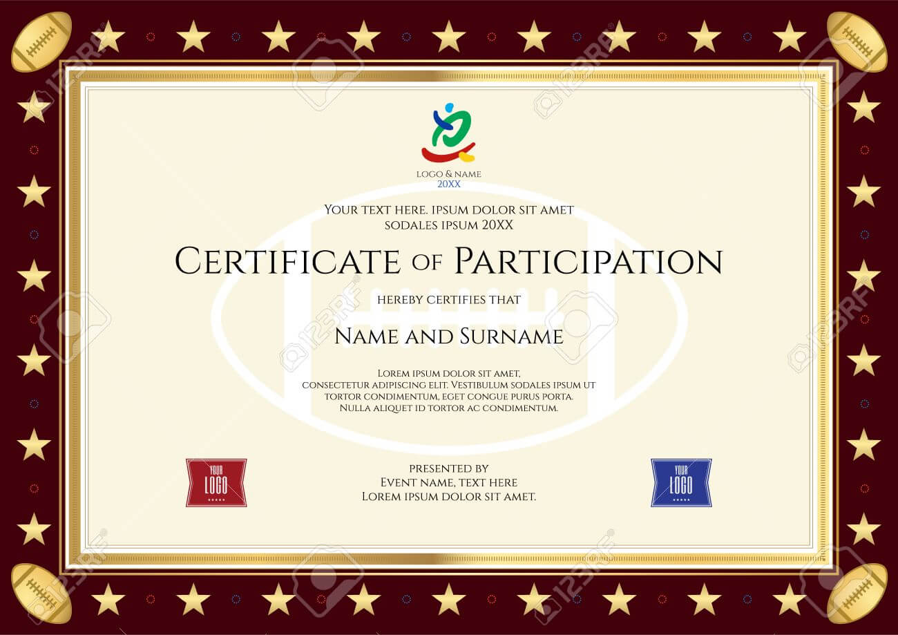 Sport Theme Certification Of Participation Template For Sport.. Intended For Free Templates For Certificates Of Participation
