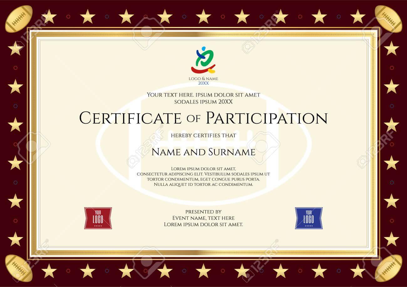 Sport Theme Certification Of Participation Template For Sport.. throughout Templates For Certificates Of Participation