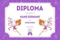 Sports Award Diploma Template, Kids Certificate With Gymnast.. regarding Gymnastics Certificate Template
