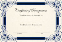 Sports Cetificate | Certificate Of Recognition A4 Thumbnail inside Template For Recognition Certificate