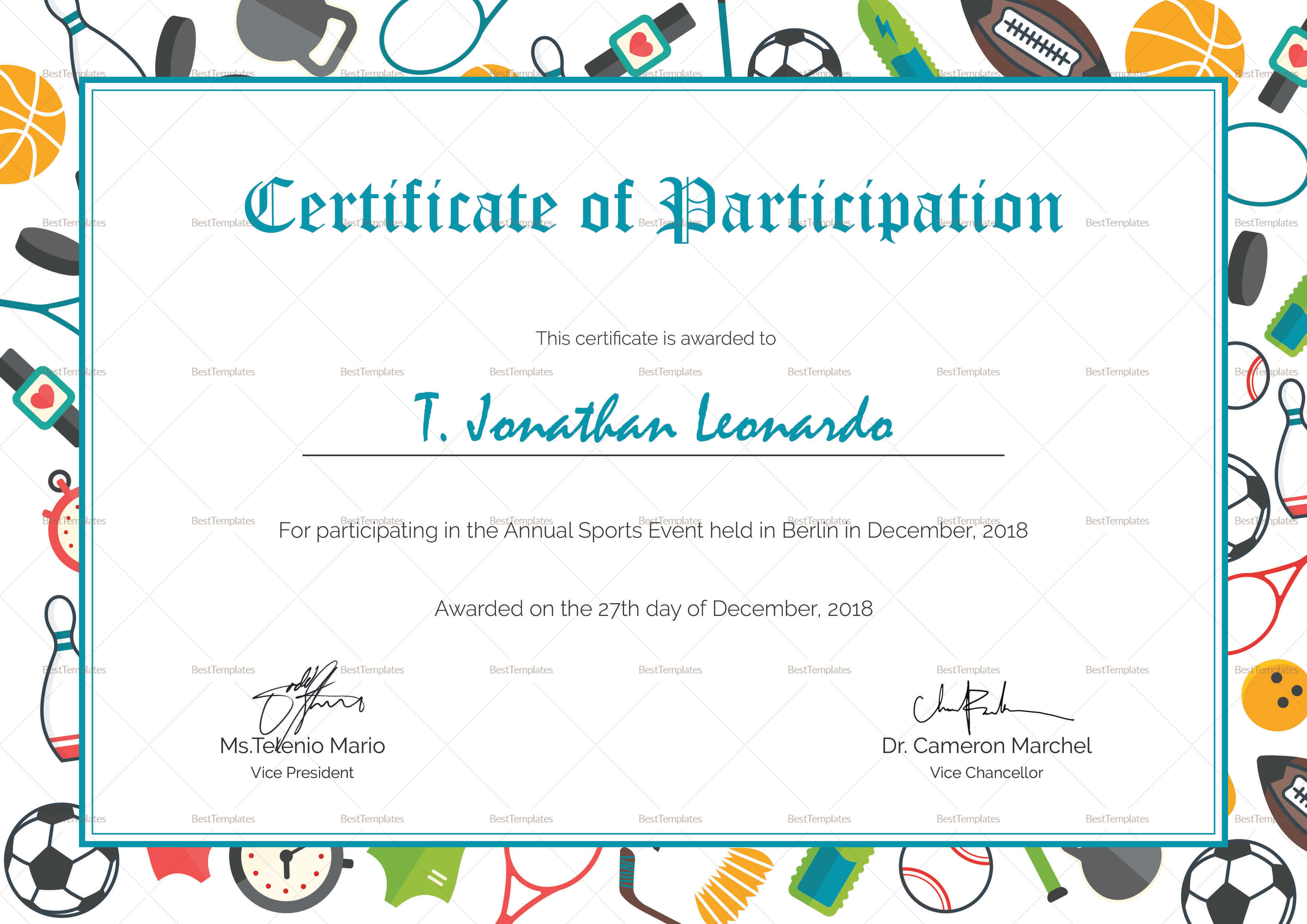 Sports Participation Certificate Template In Athletic Certificate Template