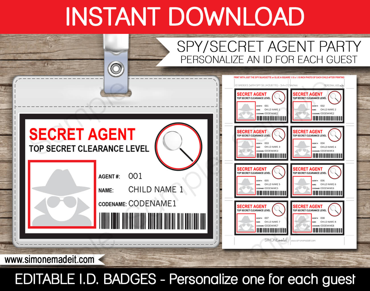 Spy Or Secret Agent Badge Template – Red | Girl Scouts | Spy Within Spy Id Card Template
