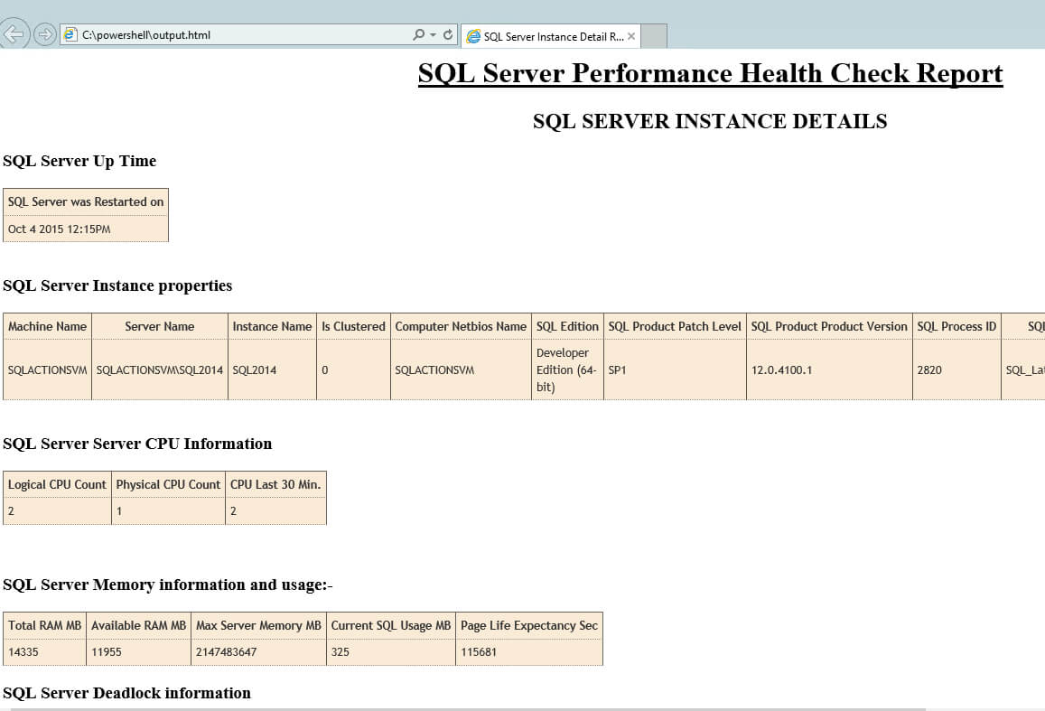 Sql Server Health Check Using Powershell And T-Sql throughout Sql Server Health Check Report Template