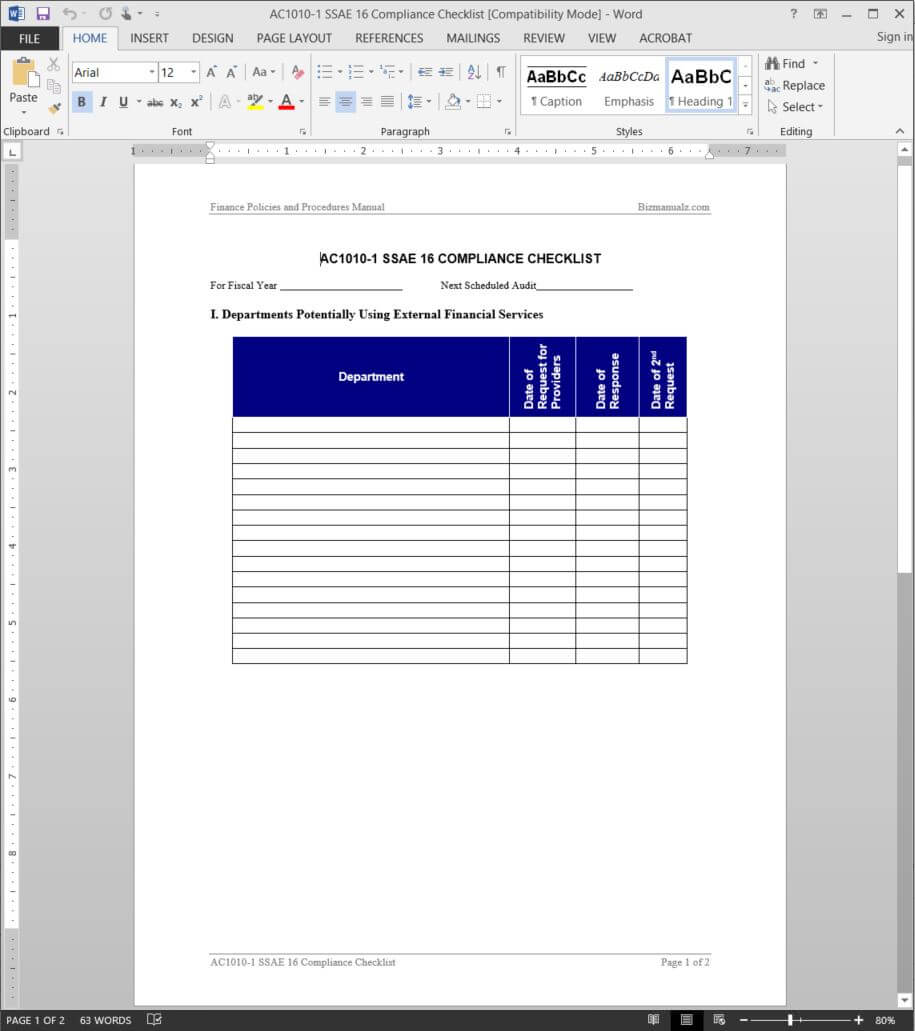 Ssae 16 Compliance Checklist Template | Ac1010 1 With Ssae 16 Report Template