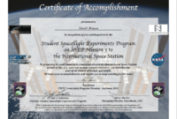 Ssep Mission 3 To Iss Student Certificates Of Accomplishment within Conference Participation Certificate Template