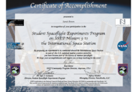 Ssep Mission 9 To Iss Student Certificates Of Accomplishment in International Conference Certificate Templates