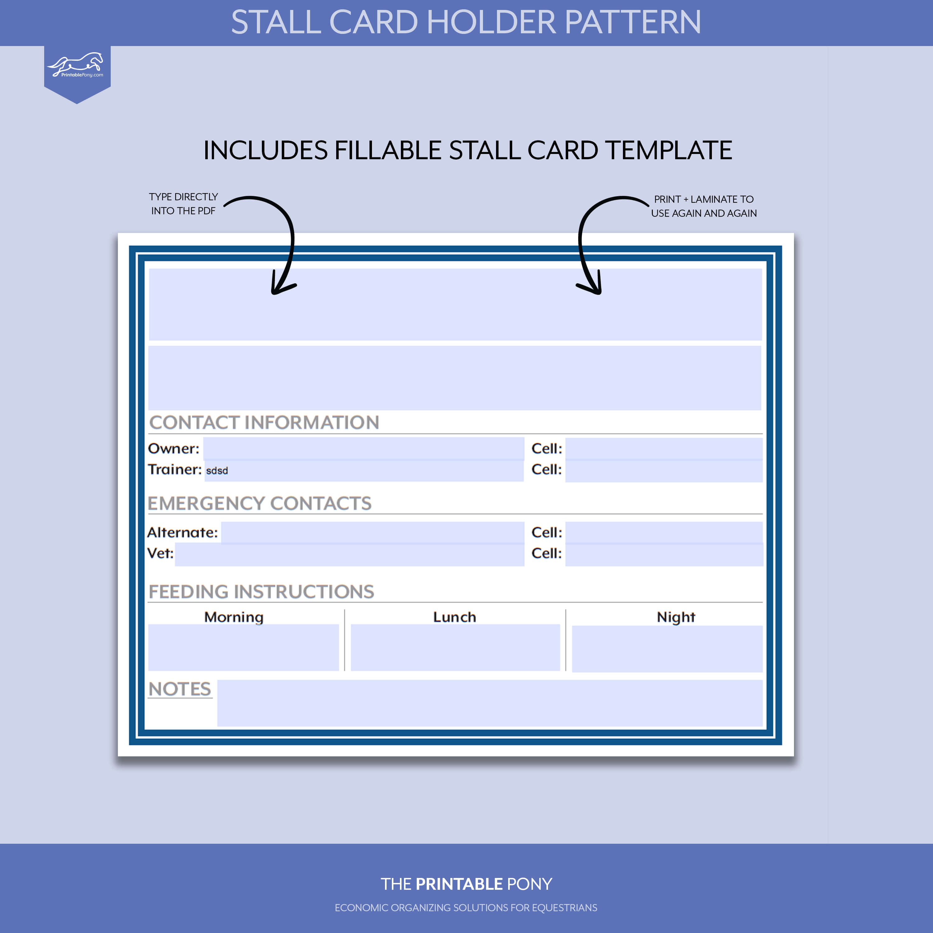Stall Card Holder Pattern + Printable Stall Card with regard to Horse Stall Card Template