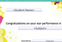 Star Performance Award | Student Rewards | Student Rewards regarding Star Performer Certificate Templates
