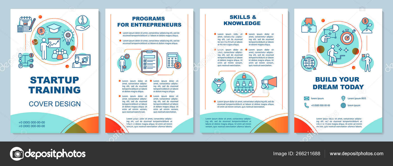 Startup Training Brochure Template Layout — Stock Vector For Training Brochure Template