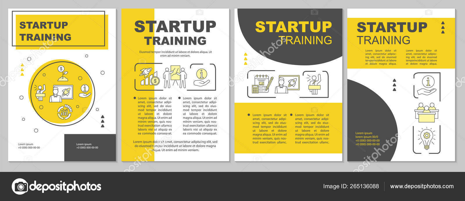 Startup Training Brochure Template Layout — Stock Vector With Training Brochure Template