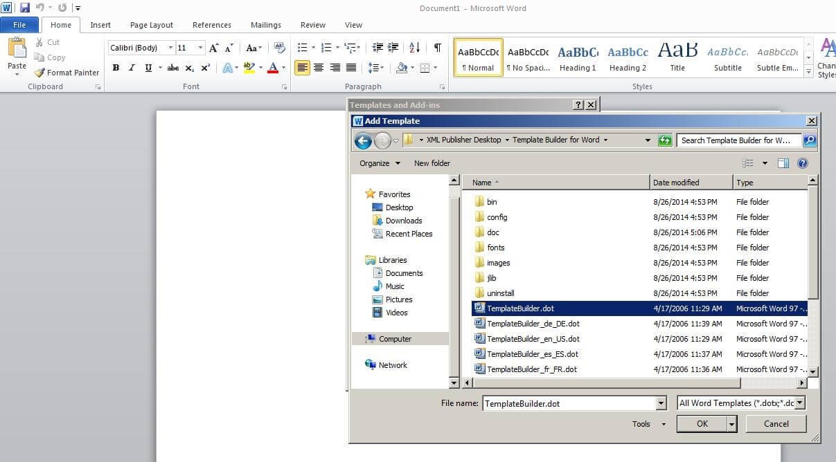Steps To Enable Bi Publisher Add-In Menu In Microsoft Office intended for Word 2010 Template Location