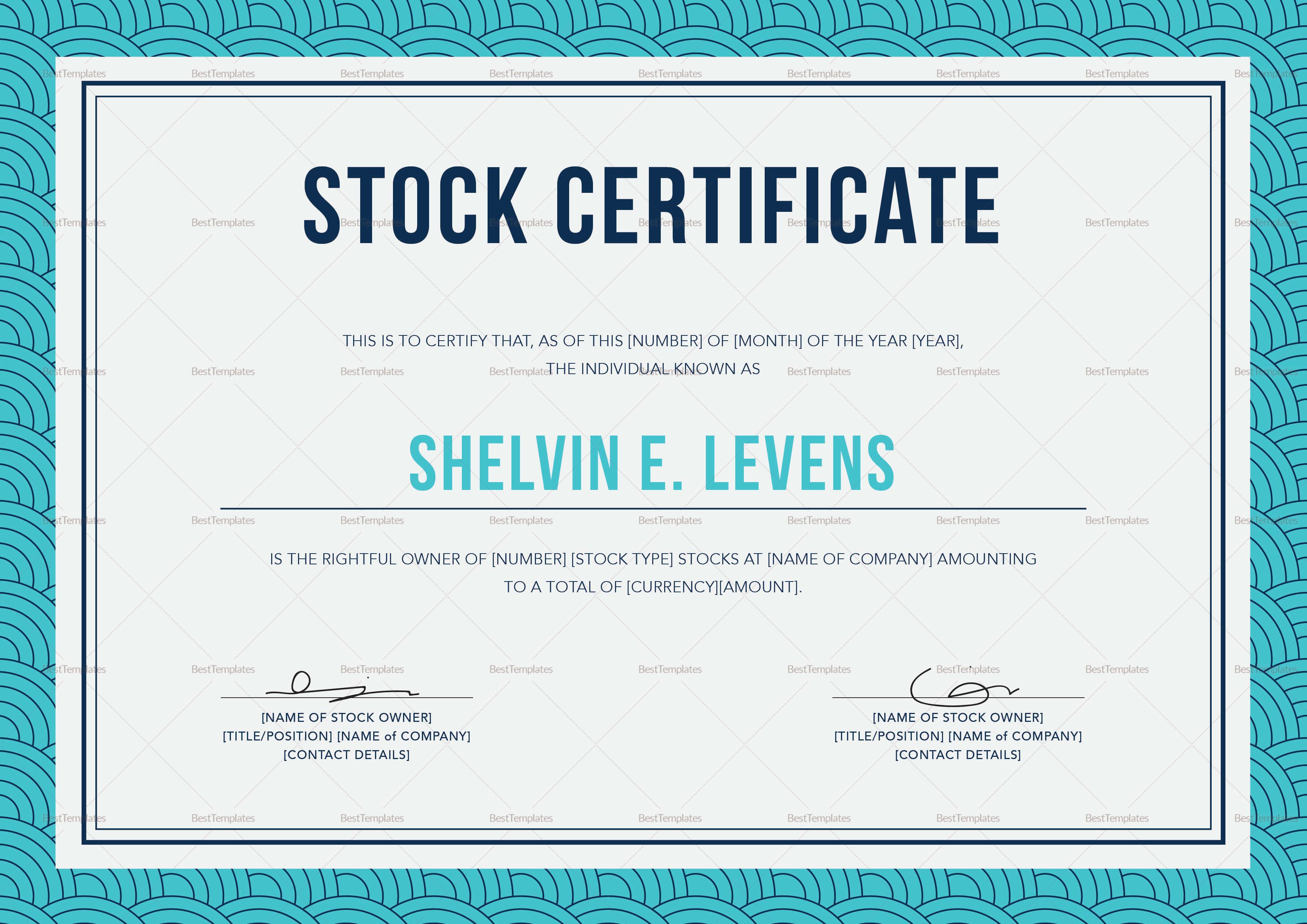 Stock Certificate Template inside Corporate Share Certificate Template