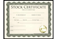 Stock Certificate Template | Template Business for Template For Share Certificate