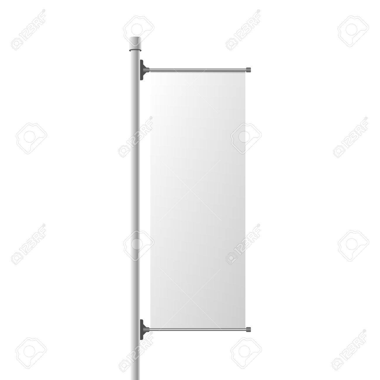 Street Banner Realistic Mockup. Commercial Billboard Template.. With Street Banner Template