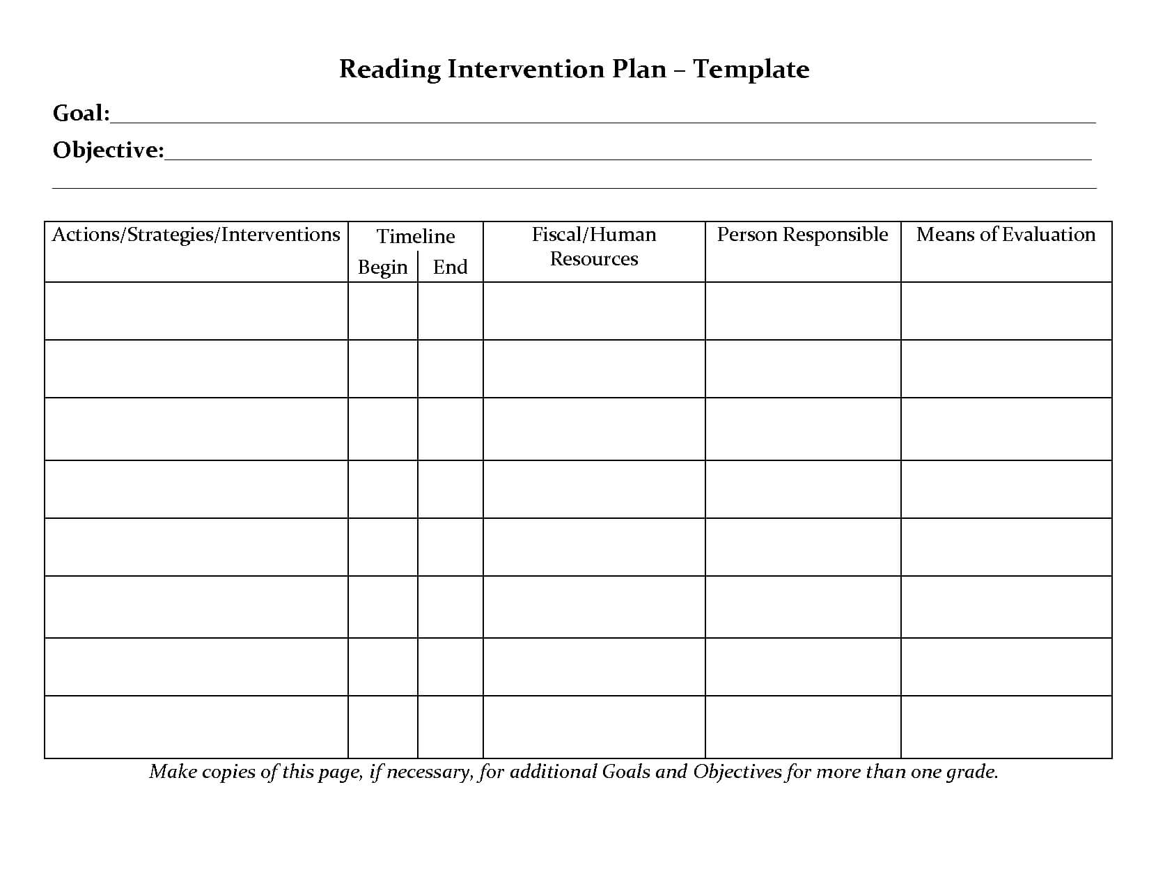 Student Planner Templates | Reading Intervention Plan For Intervention Report Template