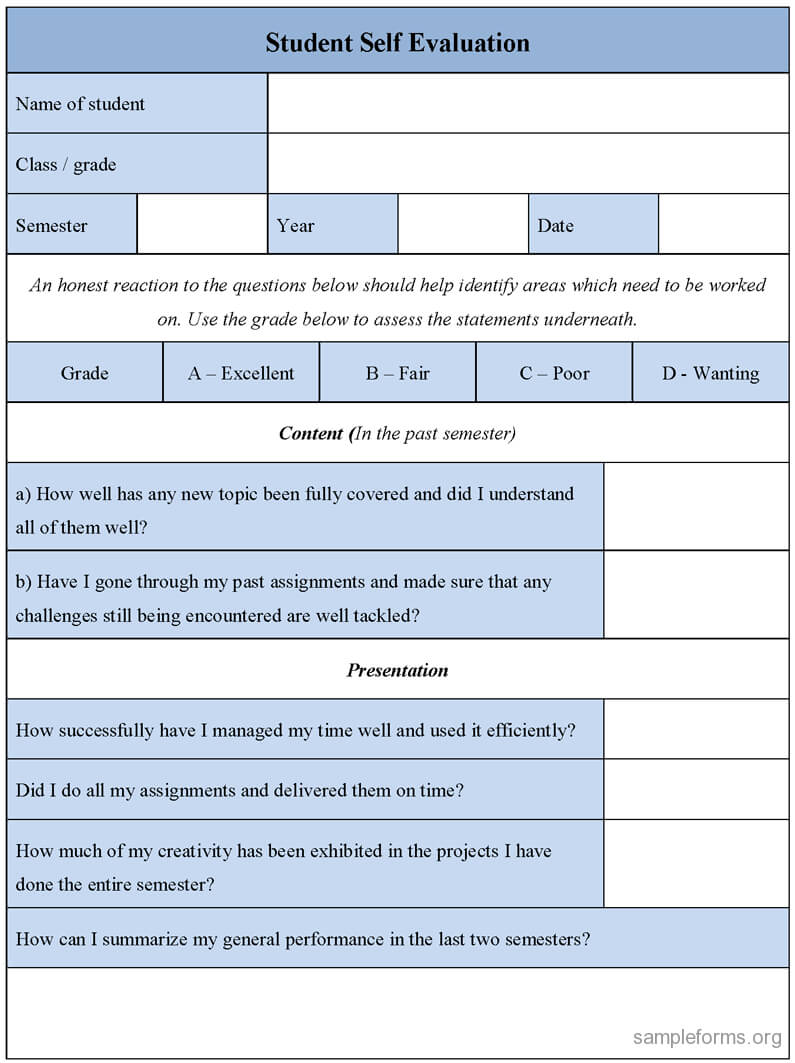 Student Self Evaluation Form : Sample Forms Intended For Student Feedback Form Template Word