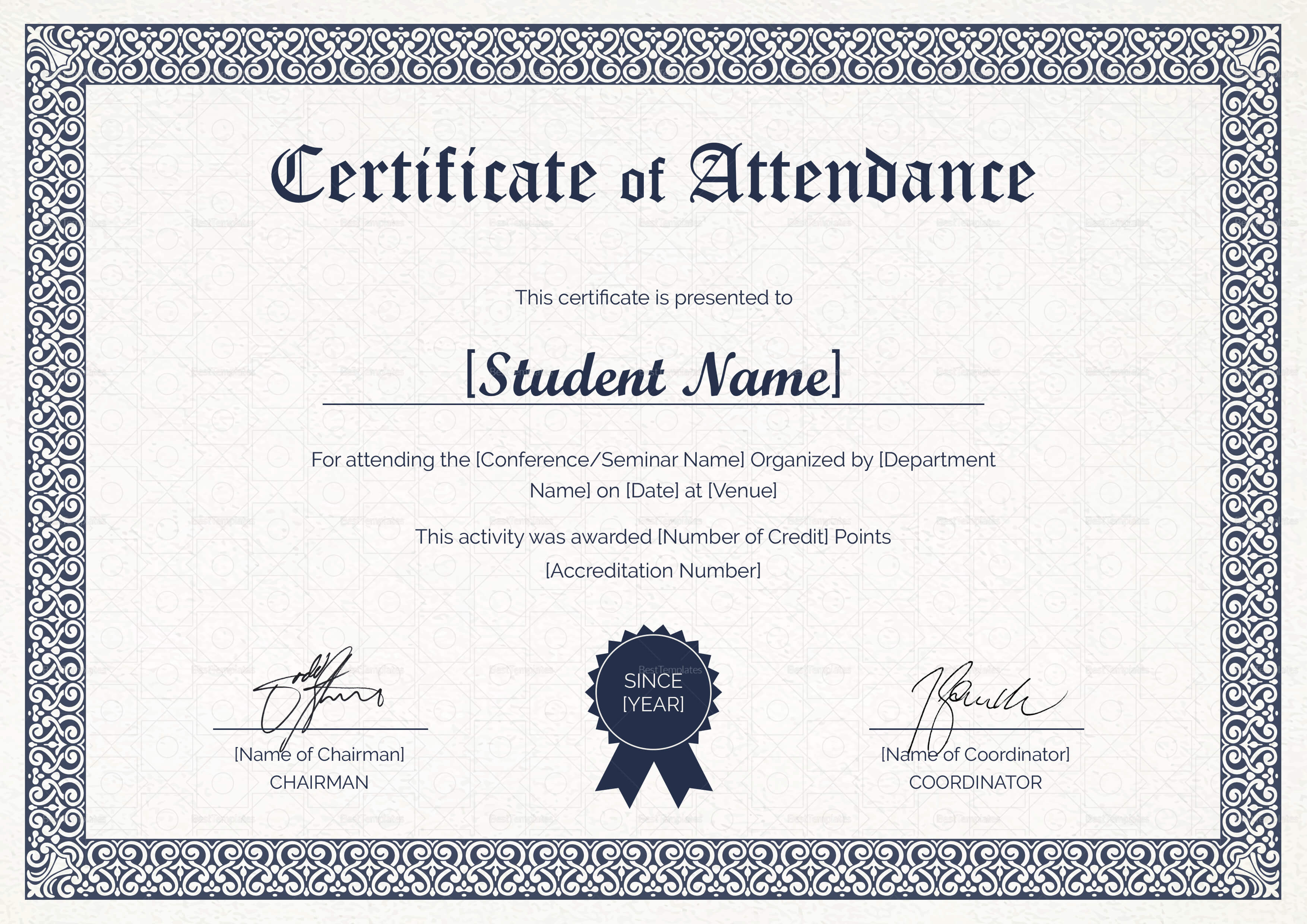 Students Attendance Certificate Template with regard to Conference Certificate Of Attendance Template