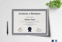 Students Attendance Certificate Template within Certificate Of Attendance Conference Template
