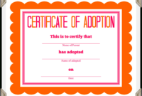 Stuffed Animal Adoption Certificate in Pet Adoption Certificate Template