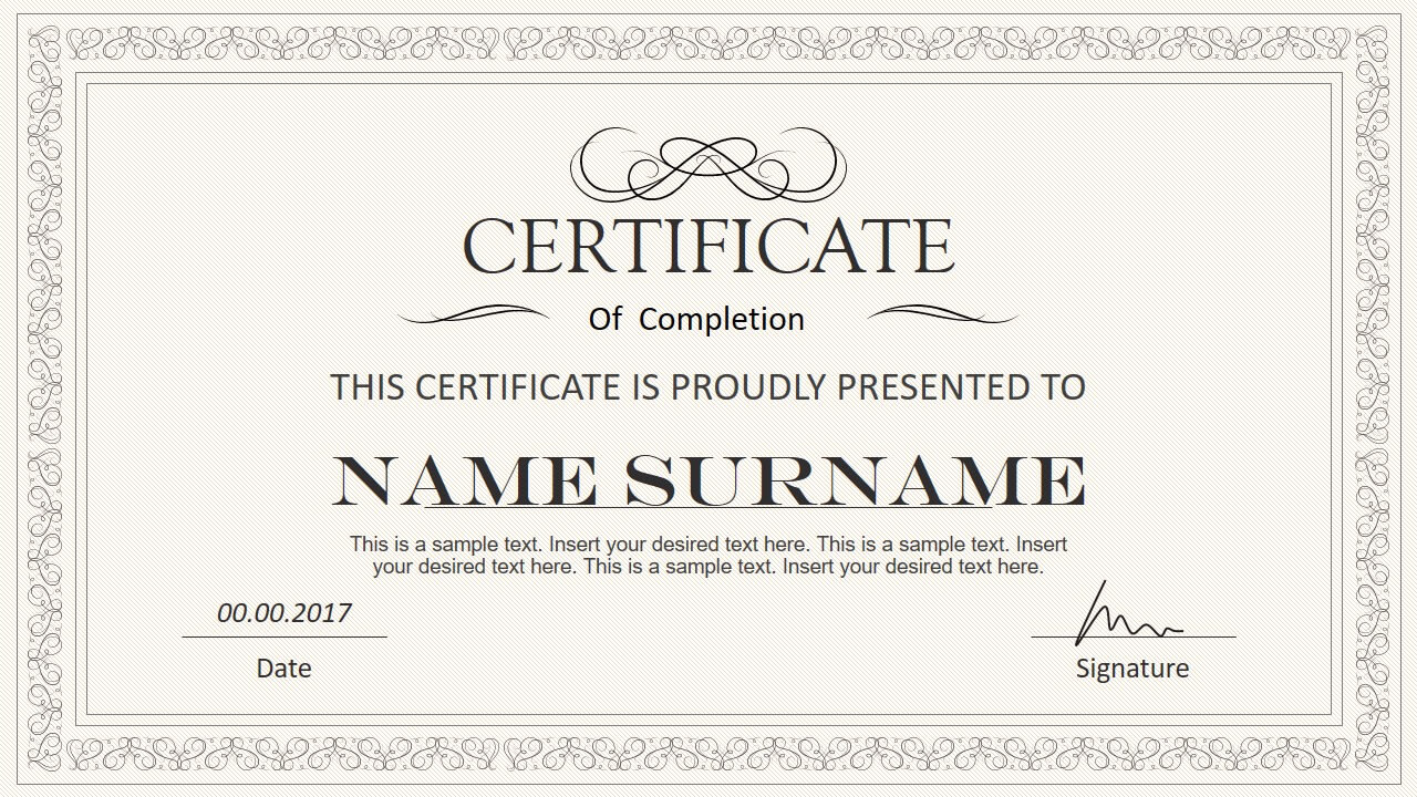 Stylish Certificate Powerpoint Templates Within Award Certificate Template Powerpoint