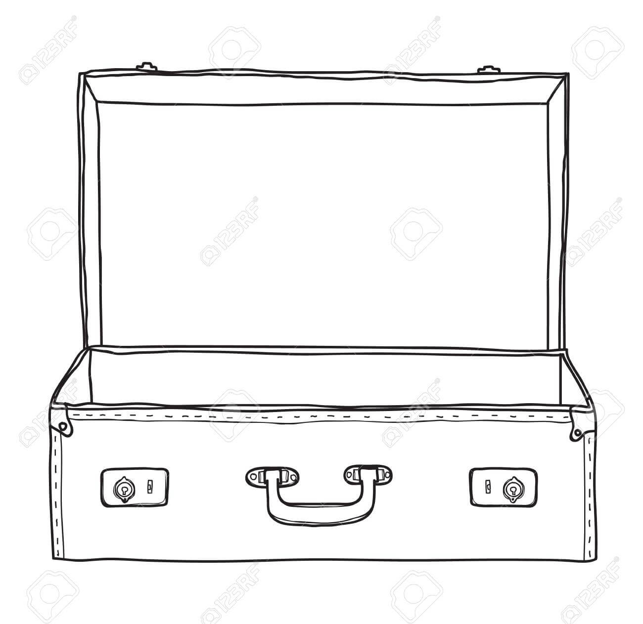 Suitcase Vintage Empty Suitcase Hand Drawn Vector Line Art Illustration inside Blank Suitcase Template