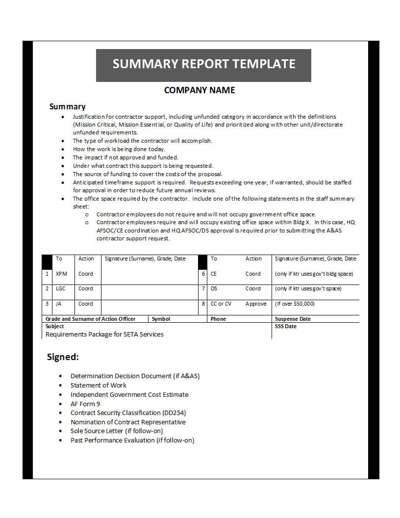 Summary Report Template Inside Evaluation Summary Report Template
