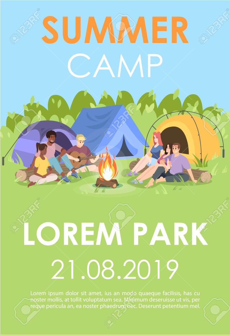 Summer Camp Brochure Template. Outdoor Recreation Flyer, Booklet,.. within Summer Camp Brochure Template Free Download
