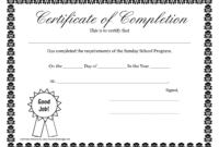 Sunday School Promotion Day Certificates   Sunday School with regard to Good Job Certificate Template