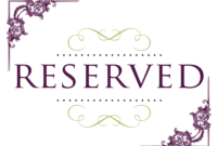 Superb Reserved Signs For Tables | Reserved Wedding Signs inside Reserved Cards For Tables Templates