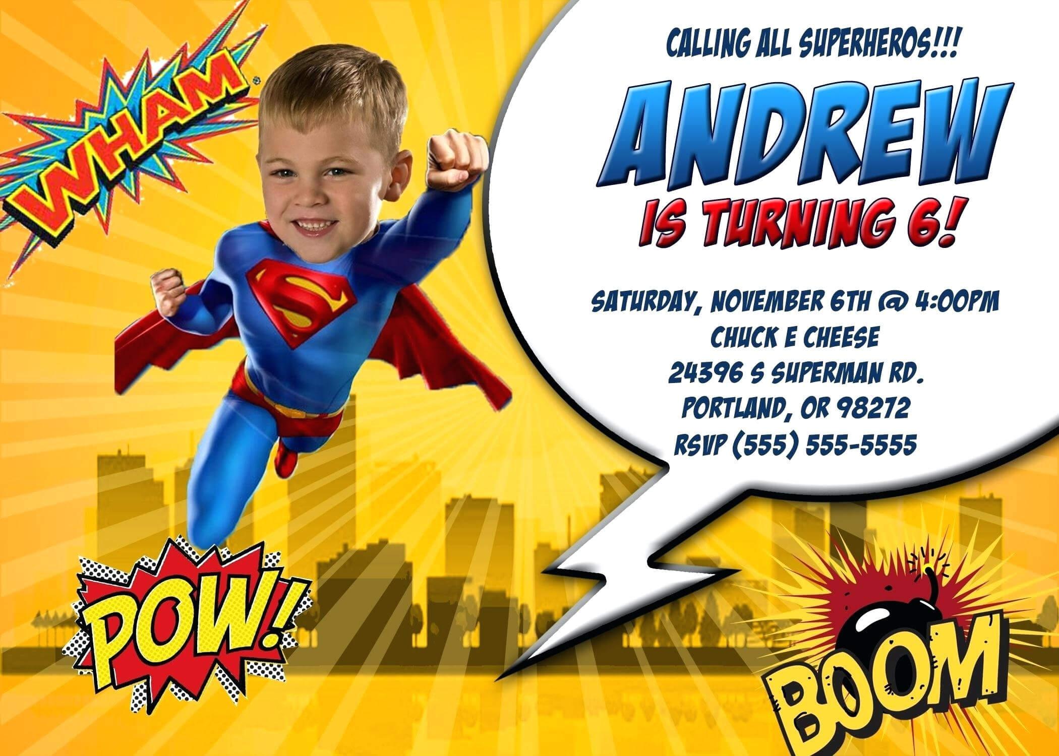 Superman Birthday Card Template - Atlantaauctionco in Superman Birthday Card Template