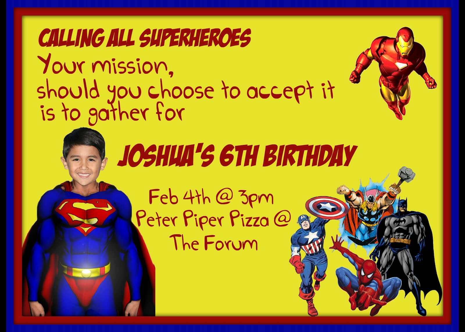 Superman Invitation Card Template   Sunshinebizsolutions regarding Superman Birthday Card Template