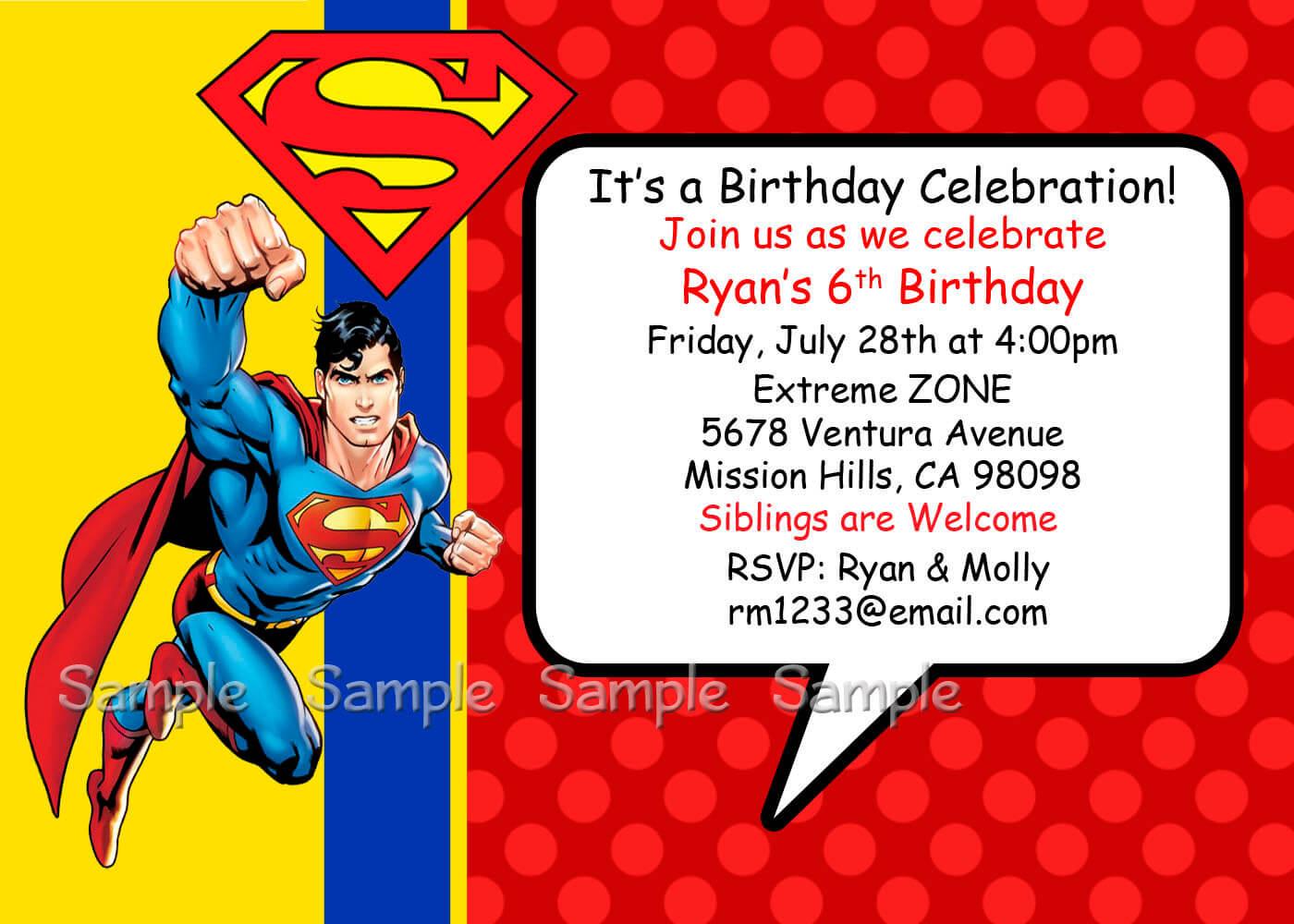 Superman Invitations Layout regarding Superman Birthday Card Template
