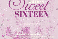 Sweet Sixteen Glitter Party Invitation Flyer Stock Vector intended for Sweet 16 Banner Template