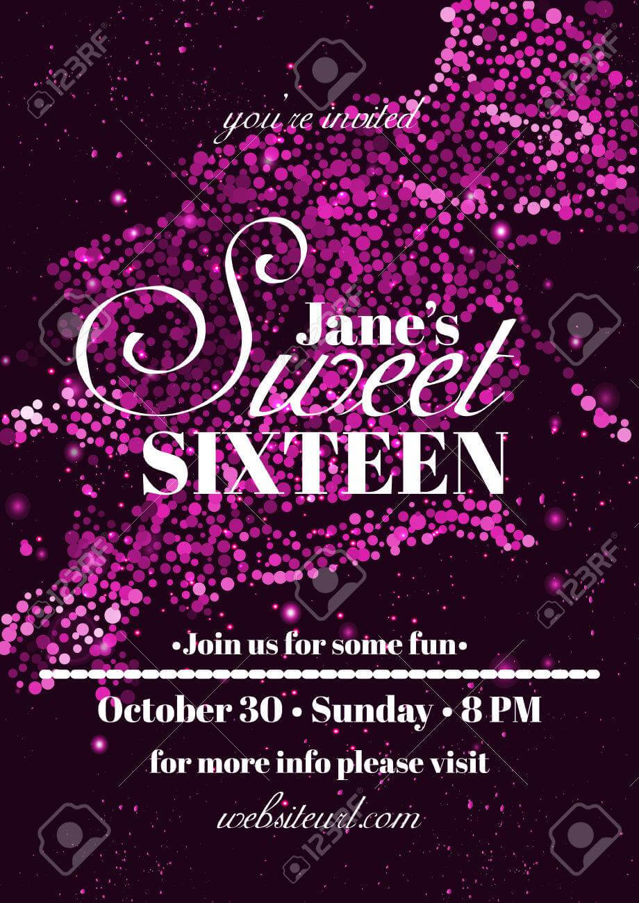 Sweet Sixteen Glitter Party Invitation Flyer Template Design with Sweet 16 Banner Template