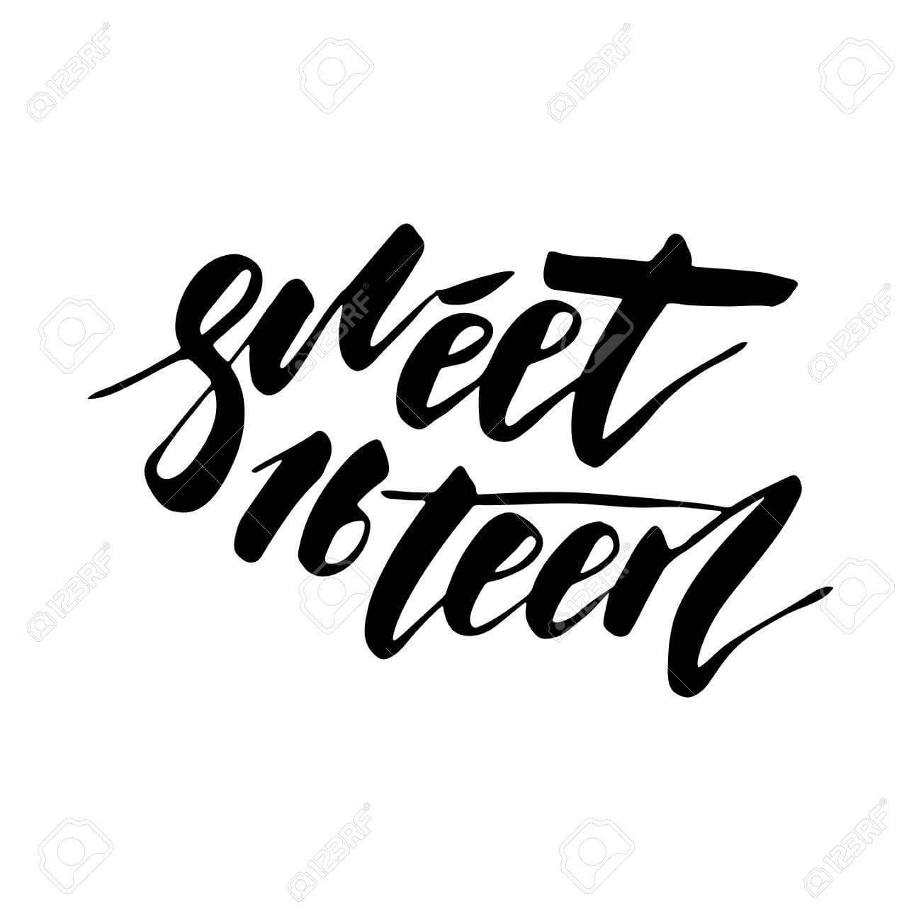 Sweet Sixteen - Lettering Design For Posters, Flyers, T-Shirts,.. within Sweet 16 Banner Template