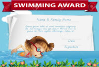Swimming Award Certificate Template Illustration In Swimming Award Certificate Template
