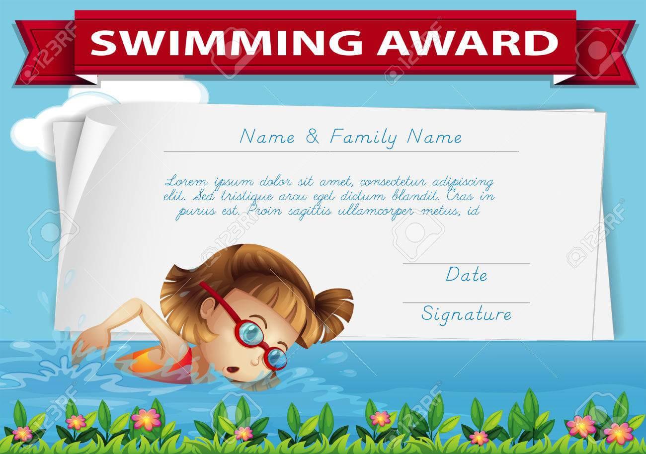Swimming Award Certificate Template Illustration in Swimming Award Certificate Template