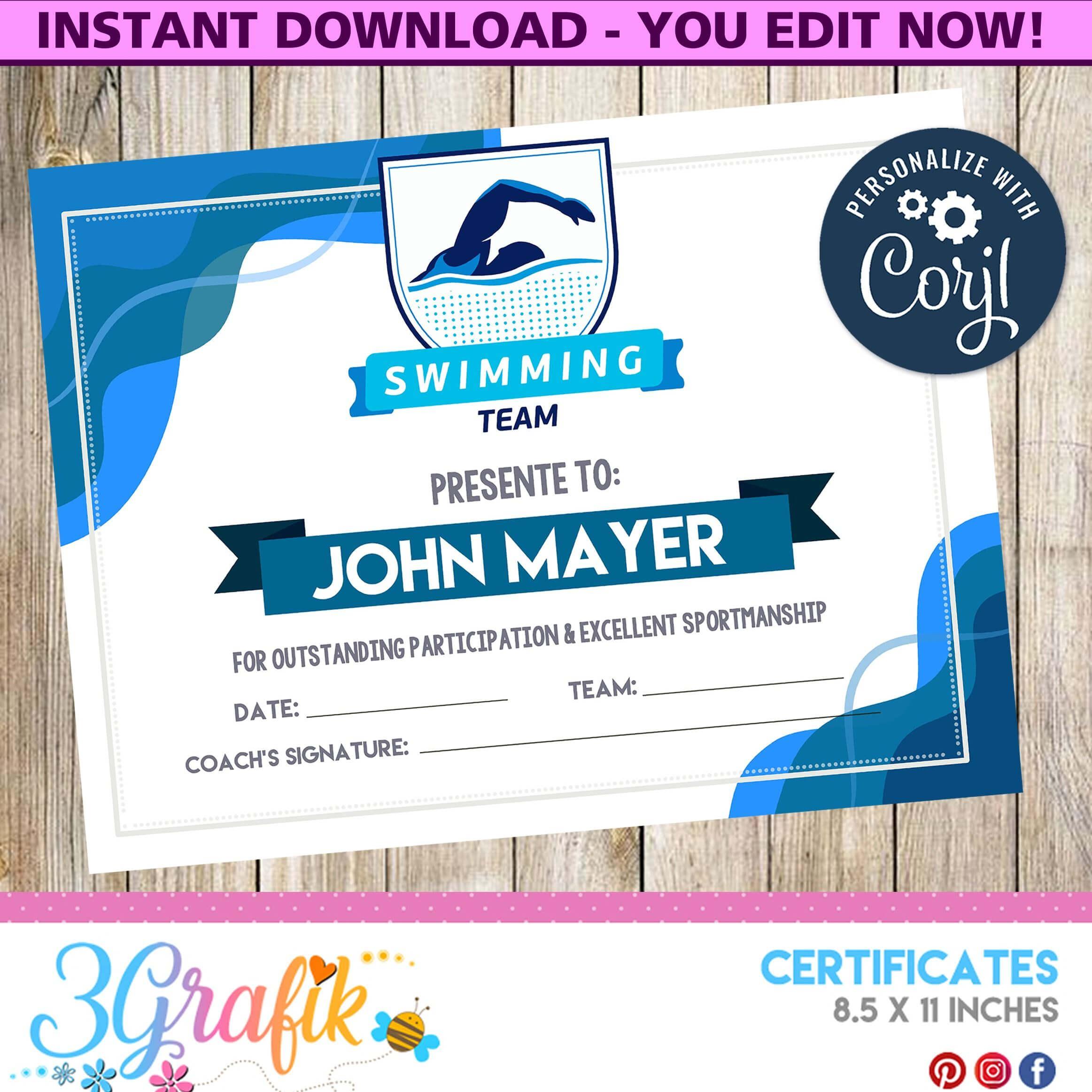 Swimming – Certificate – Printable - 3Grafik | Swimming inside Free Swimming Certificate Templates