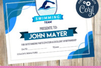 Swimming – Certificate – Printable – 3Grafik | Swimming Intended For Swimming Award Certificate Template