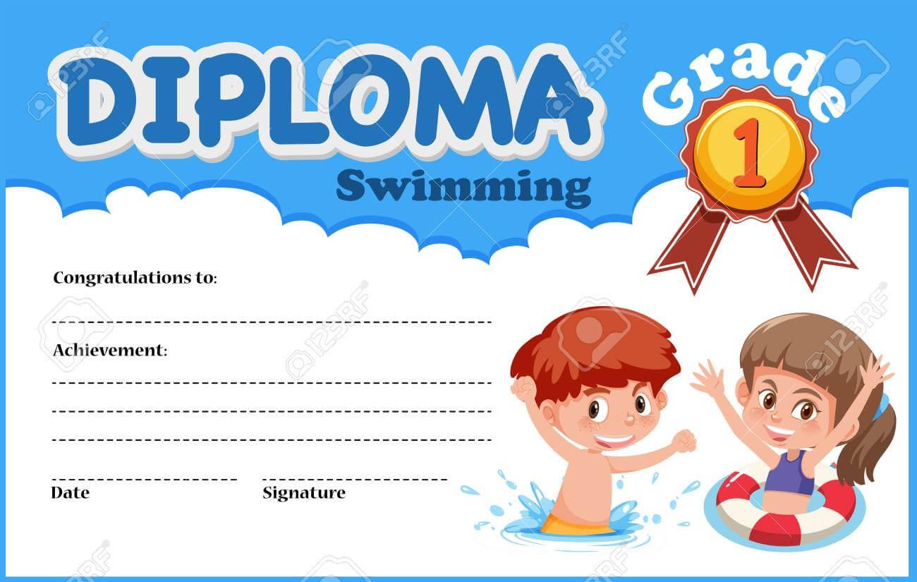 Swimming Diploma Certificate Template Illustration in Free Swimming Certificate Templates