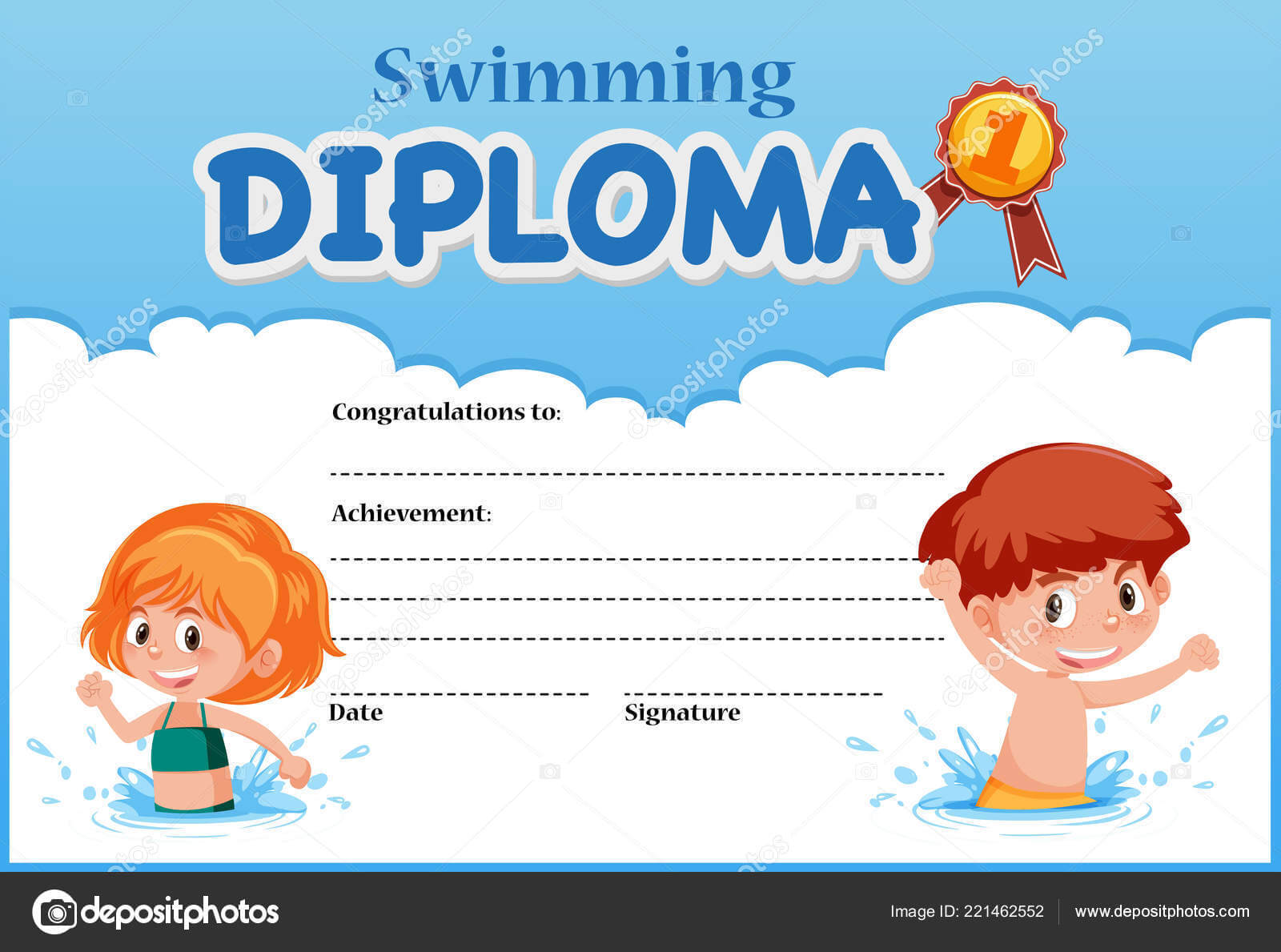 Swimming Diploma Certificate Template Illustration — Stock Intended For Swimming Award Certificate Template