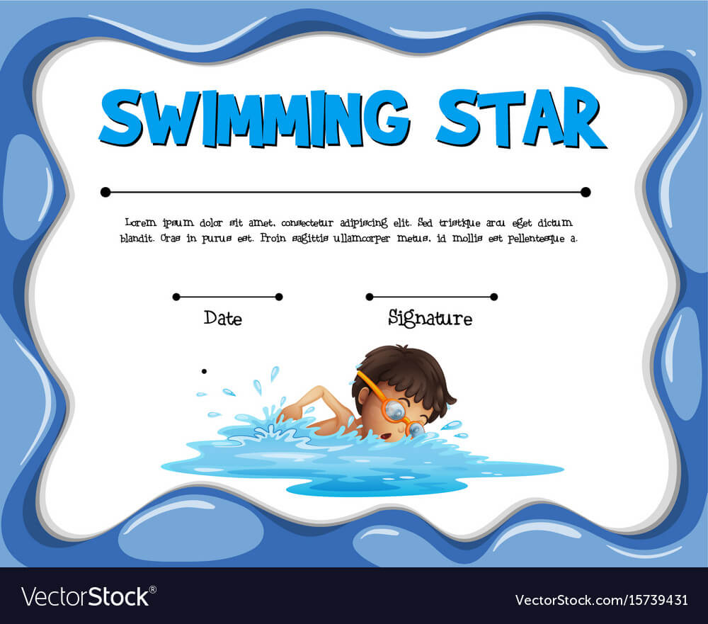 Swimming Star Certification Template With Swimmer Throughout Free Swimming Certificate Templates