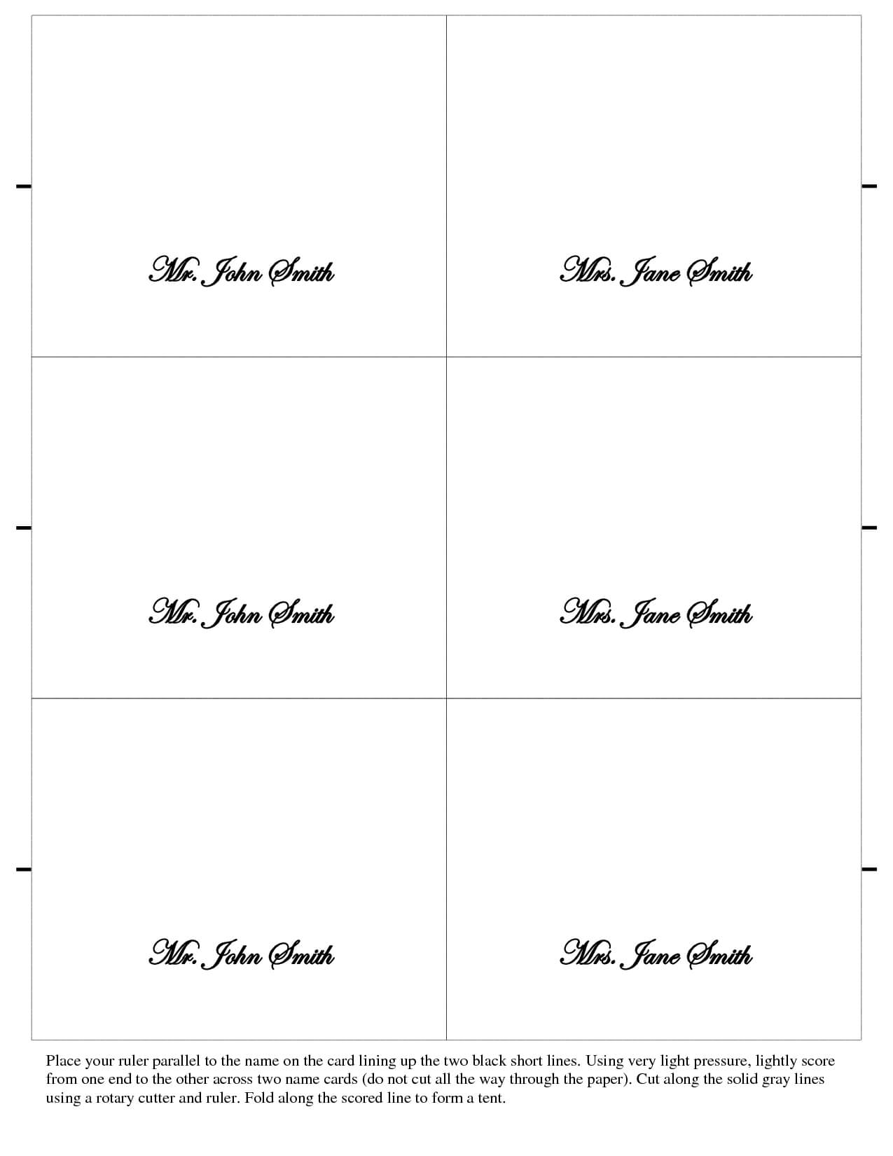 Table Name Cards Template Free - Atlantaauctionco Regarding Table Name Cards Template Free