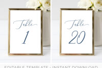 Table Number Card Template, Table Seating Cards, Hamptons Wedding Table  Setting, Beach Wedding, Editable, Printable | Instant Download inside Table Number Cards Template
