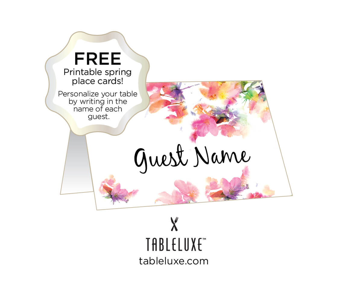 Tableluxe Printable Spring Place Cards for Free Place Card Templates Download